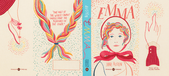 Embroidered Cover of Penguin Classic Emma by Jane Austen
