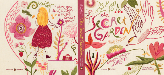 Embroidered Cover of Penguin Classic The Secret Garden